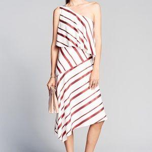 Banana Republic Red/White Asymmetrical Dress